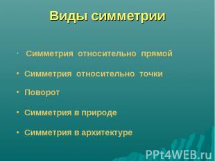 Виды симметрии Симметрия относительно прямой Симметрия относительно точки Поворо