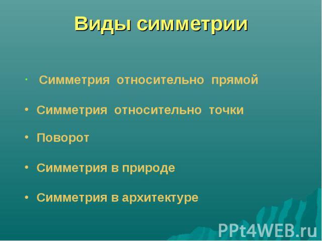 Виды симметрии Симметрия относительно прямой Симметрия относительно точки Поворот Симметрия в природе Симметрия в архитектуре