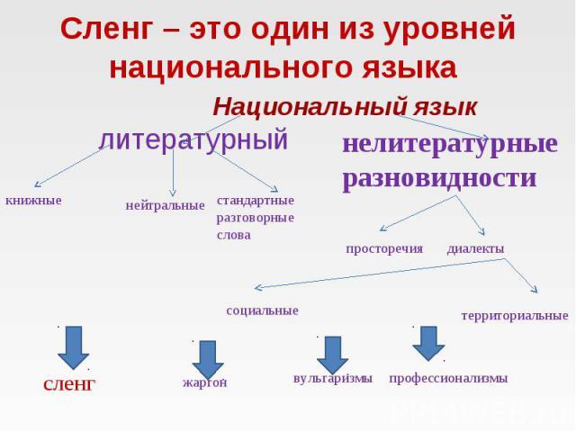 Сленг – это один из уровней национального языка Национальный язык литературный нелитературные разновидности