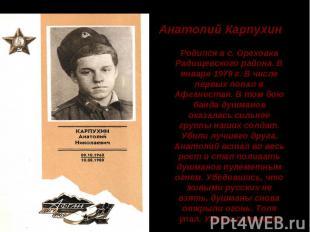Анатолий Карпухин Родился в с. Ореховка Радищевского района. В январе 1979 г. В