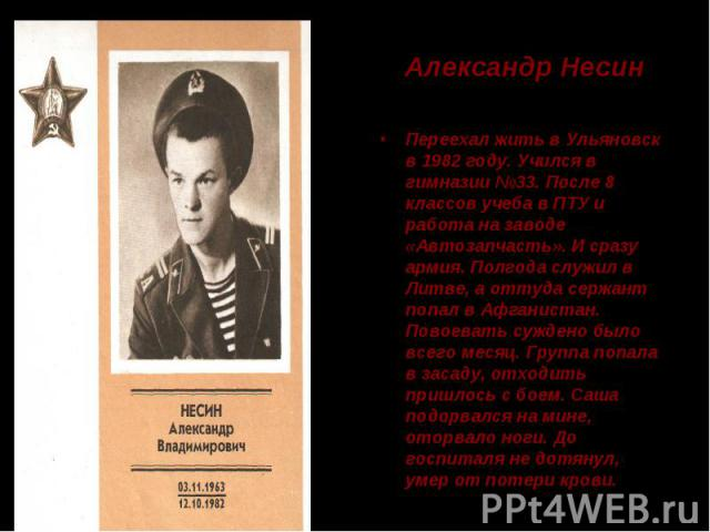 Александр Несин Переехал жить в Ульяновск в 1982 году. Учился в гимназии №33. После 8 классов учеба в ПТУ и работа на заводе «Автозапчасть». И сразу армия. Полгода служил в Литве, а оттуда сержант попал в Афганистан. Повоевать суждено было всего мес…