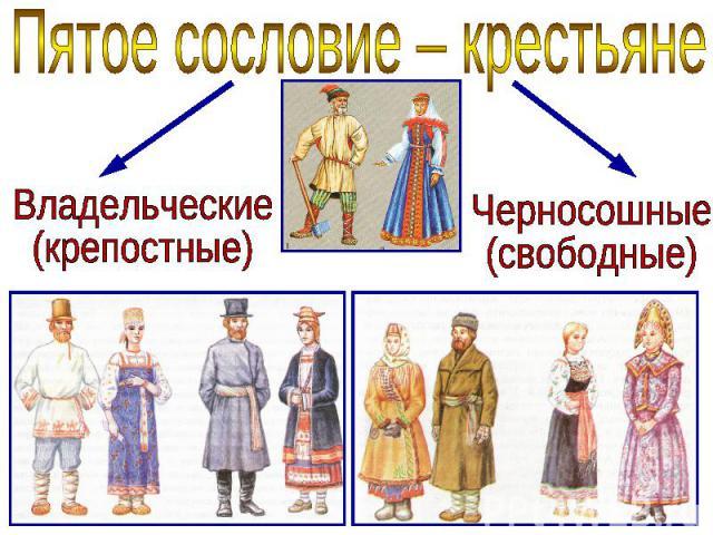 Пятое сословие – крестьяне Владельческие (крепостные) Черносошные (свободные)