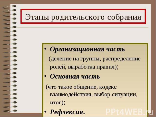 Этапы родительского собрания Организационная часть (деление на группы, распределение ролей, выработка правил); Основная часть (что такое общение, кодекс взаимодействия, выбор ситуации, итог); Рефлексия.