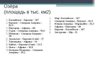 Озёра (площадь в тыс. км2) Каспийское – Евразия – 367 Верхнее – Северная Америка