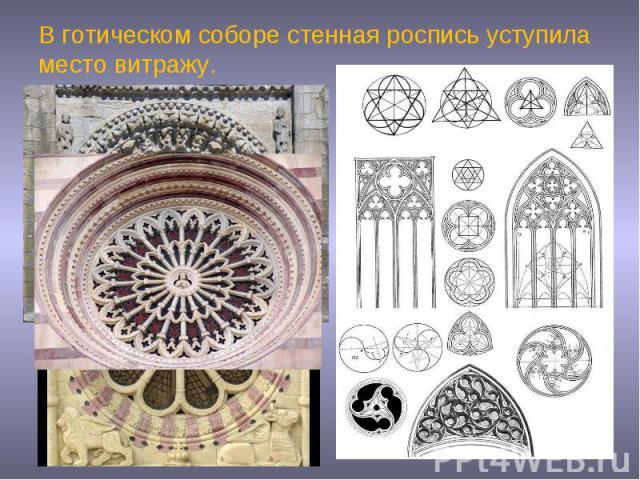 В готическом соборе стенная роспись уступила место витражу.