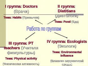 Работа по группам I группа: Doctors (Врачи) Тема: Habits (Привычки) II группа: D