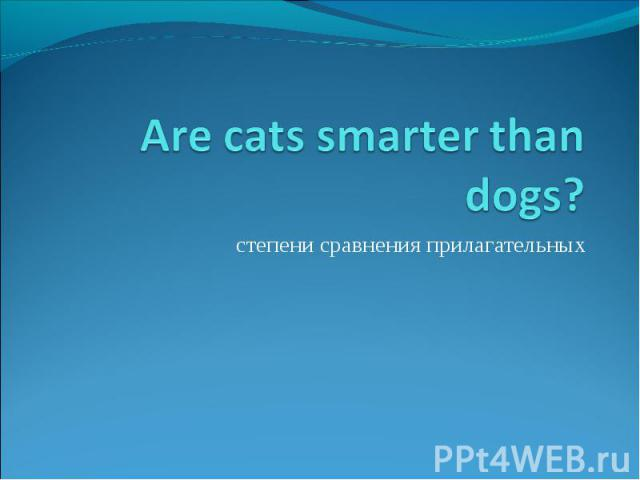 Are cats smarter than dogs? степени сравнения прилагательных