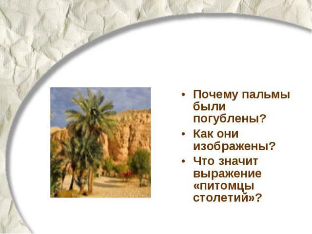 Почему пальмы были погублены? Как они изображены? Что значит выражение «питомцы столетий»?
