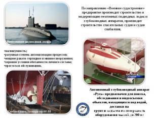 По направлению «Военное судостроение» предприятие производит строительство и мод