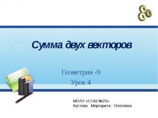 Сумма двух векторов Геометрия -9 Урок 4 МОАУ «СОШ №23» Кустова Маргарита Олеговн