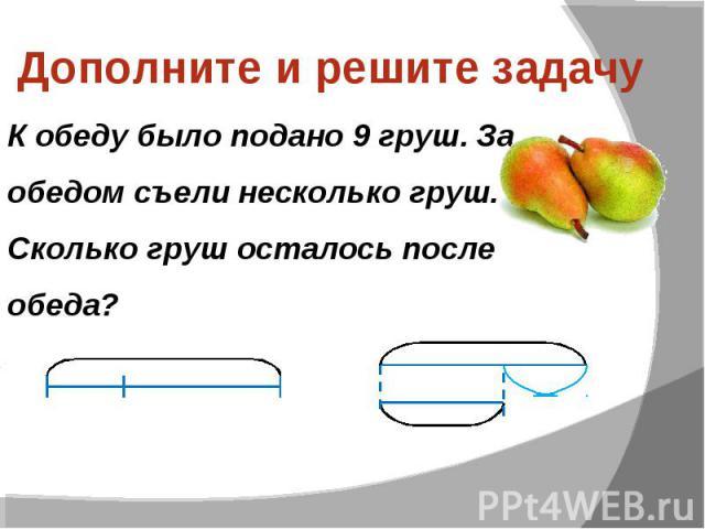 Дополните и решите задачу К обеду было подано 9 груш. За обедом съели несколько груш. Сколько груш осталось после обеда?
