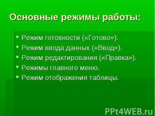 Основные режимы работы: Режим готовности («Готово»). Режим ввода данных («Ввод»)