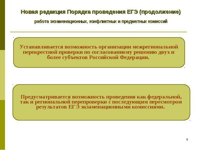 Новая редакция Порядка проведения ЕГЭ (продолжение) работа экзаменационных, конфликтных и предметных комиссий Устанавливается возможность организации межрегиональной перекрестной проверки по согласованному решению двух и более субъектов Российской Ф…