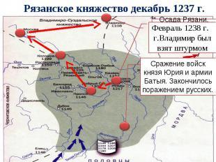 Рязанское княжество декабрь 1237 г. Февраль 1238 г. г.Владимир был взят штурмом