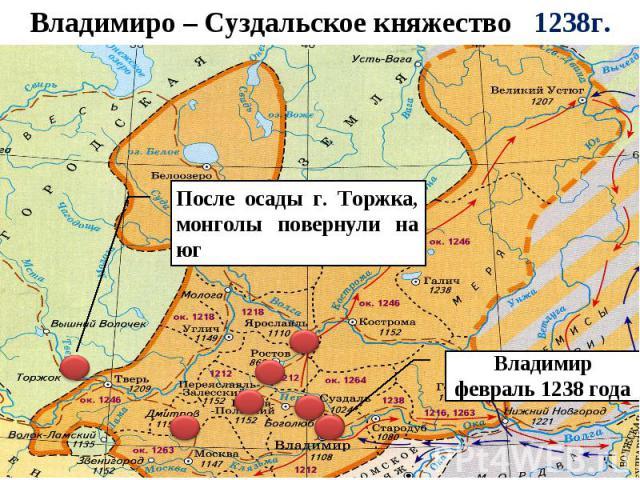 Владимиро – Суздальское княжество 1238г. После осады г. Торжка, монголы повернули на юг Владимир февраль 1238 года