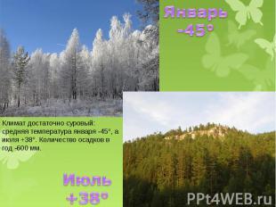 Январь -45° Климат достаточно суровый: средняя температура января -45°, а июля +