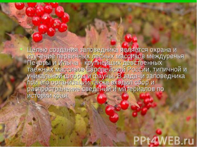 Целью создания заповедника является охрана и изучение первичных лесных массивов междуречья Печоры и Илыча - крупнейших девственных таежных массивов Европейской России, типичной и уникальной флоры и фауны. В задачи заповедника при его организации так…