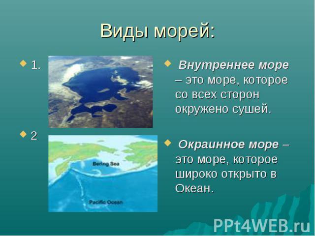 Виды морей: 1. 2 Внутреннее море – это море, которое со всех сторон окружено сушей. Окраинное море – это море, которое широко открыто в Океан.