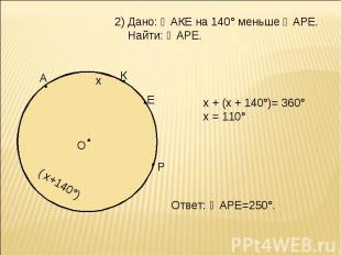 Дано: ◡АКЕ на 140° меньше ◡АРЕ. Найти: ◡АРЕ. х + (х + 140°)= 360° х = 110° Ответ