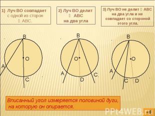 Луч ВО совпадает с одной из сторон ∠АВС. 2) Луч ВО делит ∠ АВС на два угла 3) Лу