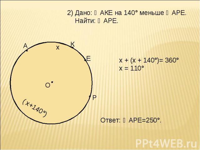 Дано: ◡АКЕ на 140° меньше ◡АРЕ. Найти: ◡АРЕ. х + (х + 140°)= 360° х = 110° Ответ: ◡АРЕ=250°.