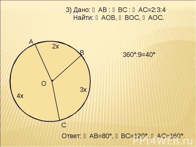 3) Дано: ◡АВ : ◡ВС : ◡АС=2:3:4 Найти: ∠АОВ, ∠ВОС, ∠АОС. 360°:9=40° Ответ: ◡АВ=80°, ◡ВС=120°, ◡АС=160°.