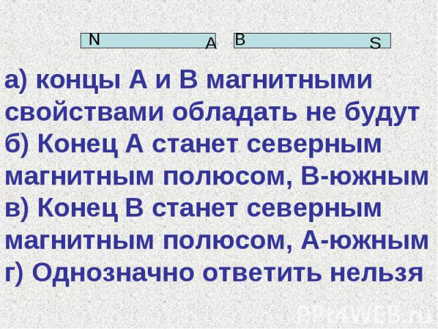а) концы А и В магнитными свойствами обладать не будут б) Конец А станет северным магнитным полюсом, В-южным в) Конец В станет северным магнитным полюсом, А-южным г) Однозначно ответить нельзя