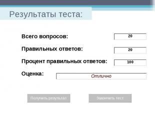 Результаты теста: Всего вопросов: Правильных ответов: Процент правильных ответов