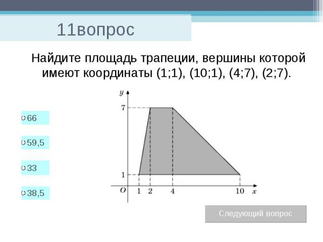 11вопрос Найдите площадь трапеции, вершины которой имеют координаты (1;1), (10;1), (4;7), (2;7).