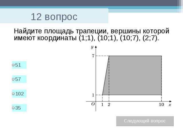 12 вопрос Найдите площадь трапеции, вершины которой имеют координаты (1;1), (10;1), (10;7), (2;7).