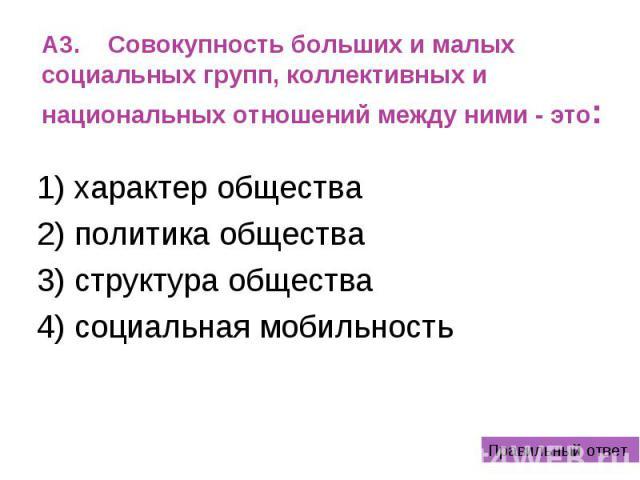 A3. Совокупность больших и малых социальных групп, коллективных и национальных отношений между ними - это: 1) характер общества 2) политика общества 3) структура общества 4) социальная мобильность