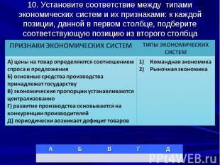 10. Установите соответствие между типами экономических систем и их признаками: к