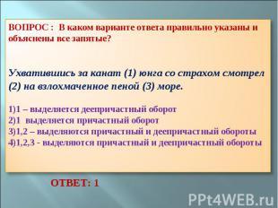 ВОПРОС : В каком варианте ответа правильно указаны и объяснены все запятые? Ухва