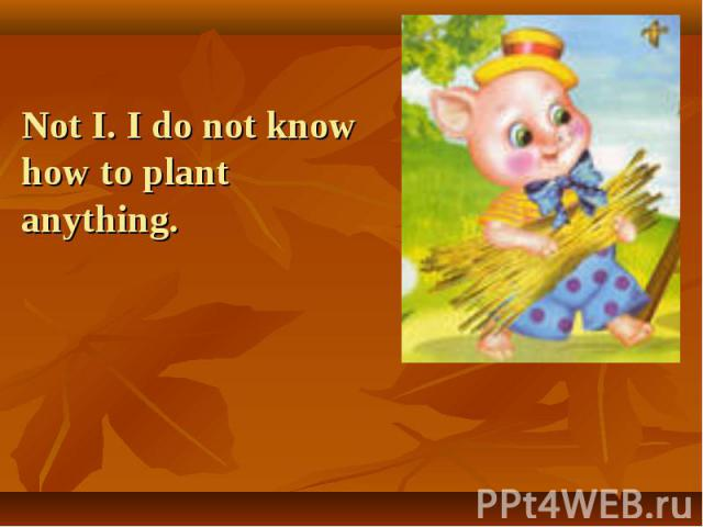 Not I. I do not know how to plant anything.