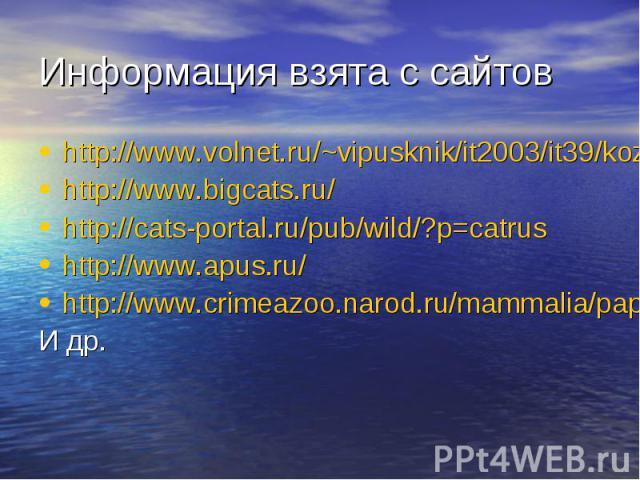 Информация взята с сайтов http://www.volnet.ru/~vipusknik/it2003/it39/kozlova/index.htm http://www.bigcats.ru/ http://cats-portal.ru/pub/wild/?p=catrus http://www.apus.ru/ http://www.crimeazoo.narod.ru/mammalia/papka2/felidae/index.htm И др.