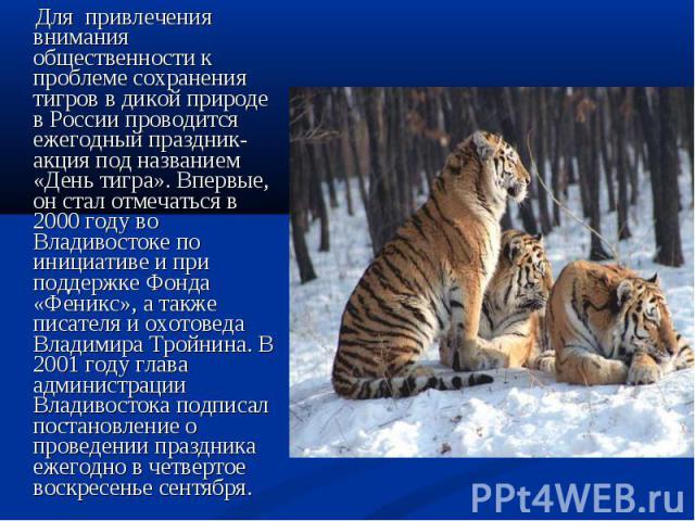 Для привлечения внимания общественности к проблеме сохранения тигров в дикой природе в России проводится ежегодный праздник-акция под названием «День тигра». Впервые, он стал отмечаться в 2000 году во Владивостоке по инициативе и при поддержке Фонда…