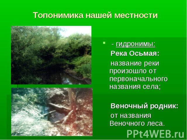 Топонимика нашей местности - гидронимы: Река Осьмая: название реки произошло от первоначального названия села; Веночный родник: от названия Веночного леса.