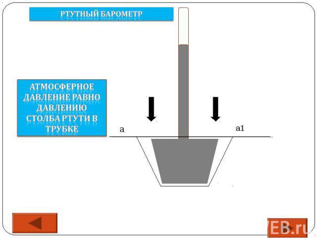 Ртутный барометр Атмосферное давление равно давлению столба ртути в трубке