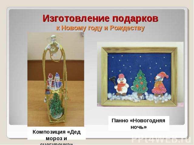 Изготовление подарков к Новому году и Рождеству Композиция «Дед мороз и снегурочка» Панно «Новогодняя ночь»