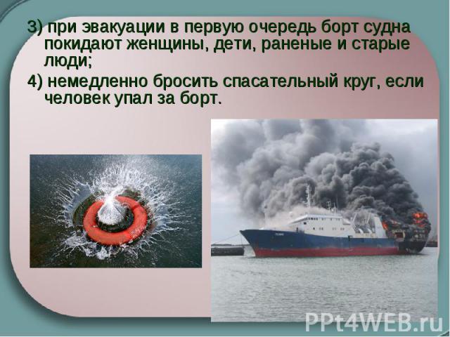 3) при эвакуации в первую очередь борт судна покидают женщины, дети, раненые и старые люди; 4) немедленно бросить спасательный круг, если человек упал за борт.