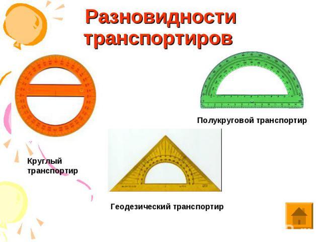 Разновидности транспортиров Круглый транспортир Полукруговой транспортир Геодезический транспортир