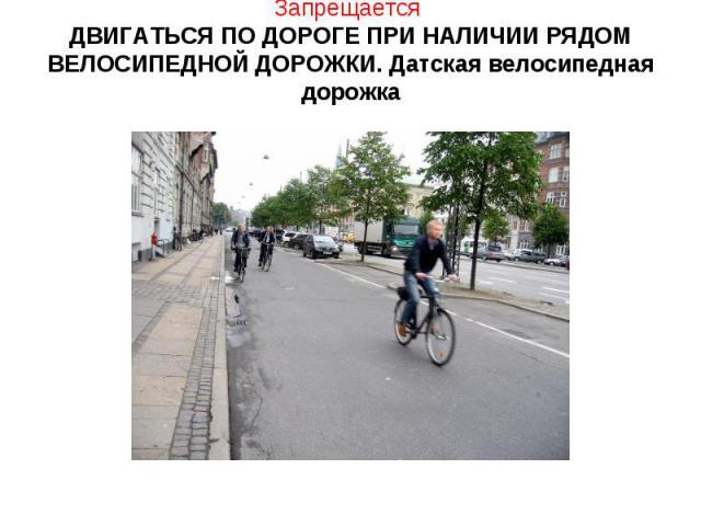 Запрещается ДВИГАТЬСЯ ПО ДОРОГЕ ПРИ НАЛИЧИИ РЯДОМ ВЕЛОСИПЕДНОЙ ДОРОЖКИ. Датская велосипедная дорожка