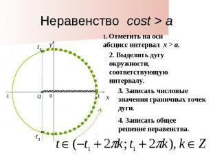 Неравенство cost > a1. Отметить на оси абсцисс интервал x > a. 2. Выделить дугу