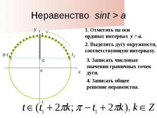 Неравенство sint > a1. Отметить на оси ординат интервал y > a. 2. Выделить дугу