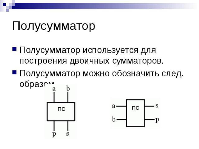 Полусумматор Полусумматор используется для построения двоичных сумматоров. Полусумматор можно обозначить след. образом