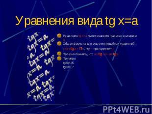 Уравнения вида tg x=a Уравнение tg x=a имеет решение при всех значениях а Общая