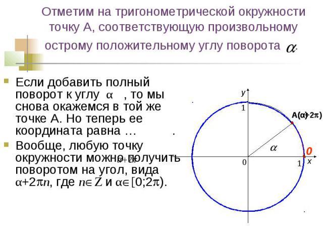 Отметим на тригонометрической окружности точку А, соответствующую произвольному острому положительному углу поворота . Если добавить полный поворот к углу α , то мы снова окажемся в той же точке А. Но теперь ее координата равна … . Вообще, любую точ…
