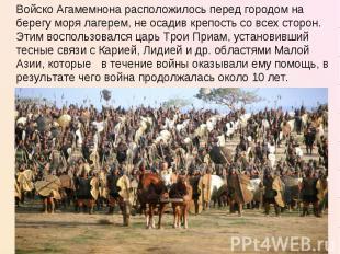 Войско Агамемнона расположилось перед городом на берегу моря лагерем, не осадив