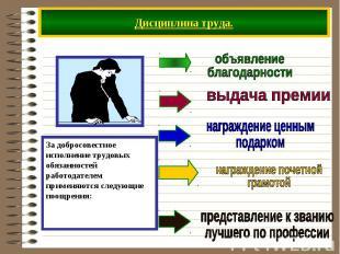 Дисциплина труда. За добросовестное исполнение трудовых обязанностей работодател