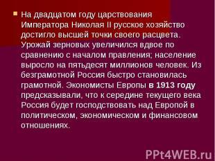 На двадцатом году царствования Императора Николая II русское хозяйство достигло